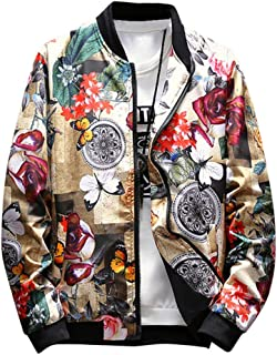 Men Vintage Print Bomber Jacket Stylish Front Zip Retro Outdoor Sportswear by Lowprofile