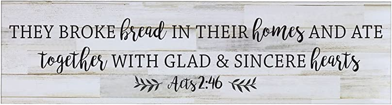 LifeSong Milestones They Broke The Bread in Their Homes, Decorative Wall Art Decor Sign for Living Room, Entryway, Kitchen, Bedroom,Office, Wedding Idea (Distressed White Plank)