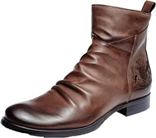 OROSUA Chelsea Boots pour Hommes Respirant Classique Bottes en Cuir décontracté Fermeture éclair Broderie Badge Gland Anti...