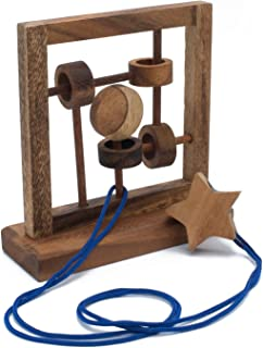 Constellation: Disentanglement Wood Puzzle / 3D Brainteaser - Rope and String Bar Game from SiamMandalay with Gift w/ Free Gift Box