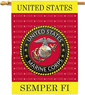 AOKDEER US Marine Corps Veteran House Flags USMC Military Impressions Decorative Double Sided Home American Military SEMPERFI Flag 28x40 Inch
