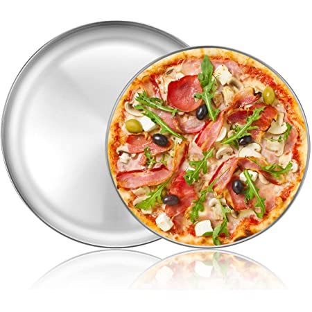 Round Cooking Serving Bread Baking Aluminum Pizza Pan Oven Pizza Trays