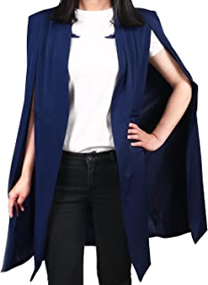 HaoDuoYi Women Casual Open Front Cape Trench Duster Coat Longline Blazer Cape