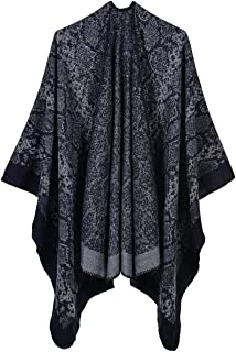 Womens Poncho Cape Printed Tassel Shawls Open Front Blanket Oversized Scarf Coat for Winter