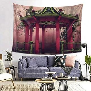 PATINISA タペストリー インテリア 壁掛け 桜が咲くカラフルな東洋の望楼果樹園春の牧草地緑の植物が霧の森を残す 壁飾り 家 リビングルーム ベッドルーム 部屋 おしゃれ飾り 200x150cm