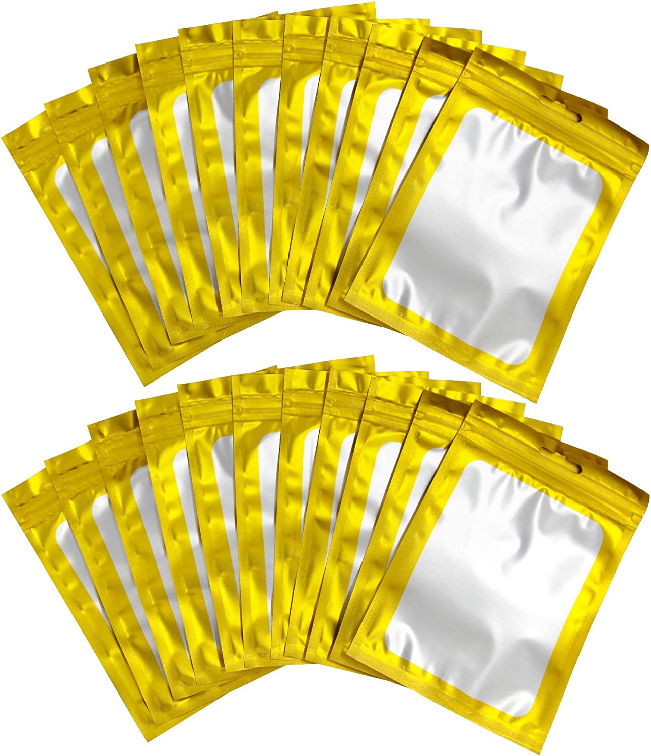 BQTQ 150 Pieces Smell Proof Bags Resealable Foil Ziplock Bags Flat Foil Bags Food Storage Pouch(Gold, 4 x 6 Inch)