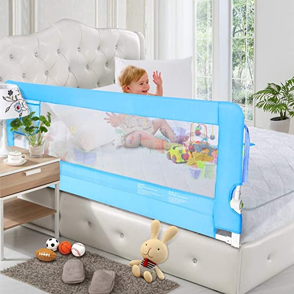 HK 56in Bed Rail Swing Down Safety Bed Rails Hide Away HA Bedrail Assist Extra Long BedRails Mesh Guard Rails For Convertible Crib 1 Pack