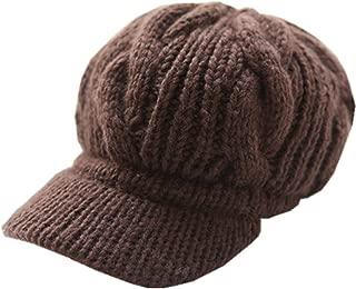 LOCOMO Men Women Boy Girl Slouchy Cabled Pattern Knit Beanie Crochet Rib Hat Brim Newsboy Cap Warm FAF026BRN Brown