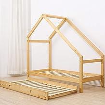 Bestmart Children Toddler Bed House Bed Frame Premium Wood Floor Bed Kids Tent Bed Play Tent, Comfort & Safe(Twin Size)