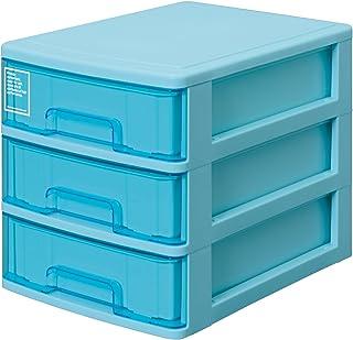 サンコープラスチック 小物収納3段 シルキー 幅25.2×奥35×高28cm ブルー
