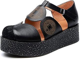 [Maysky] 古銭 コンフォートシューズ ストラップ ぺたんこ ラウンドトゥ EEE 前厚 厚底 超軽量 痛くない 歩きやすい 涼しい 本革 仕事靴 カジュアル レディース