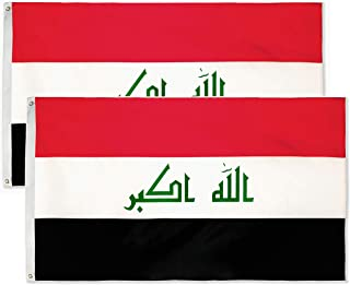 DANF 2 Pack Iraq Flag 3ftx5ft Iraqi National Flags Polyester with Brass Grommets 3x5 Foot Flag