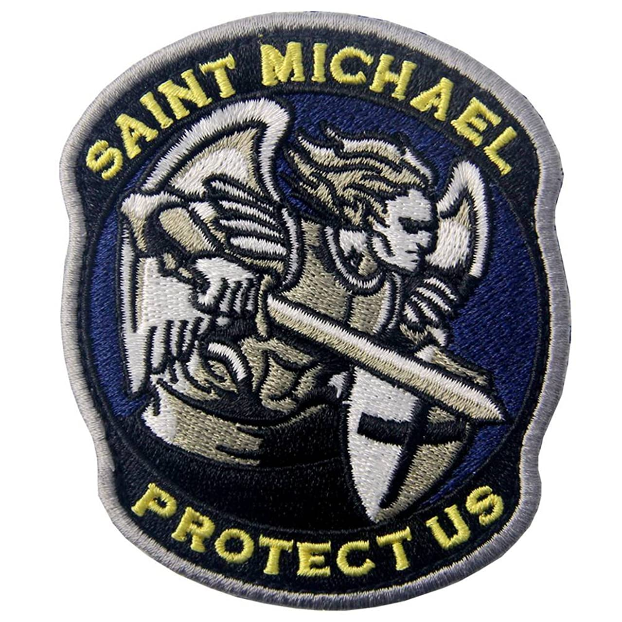 Rocking Planet Saint Michael Protect Us Embroidered Modern Military ACU Tactical Emblem Army Morale Hook & Loop Patch