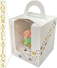 Okura Magic Home White With Silver and Gold Design, Congratulations, Anniversary or Invitation Single Cupcake Boxes or Coo...