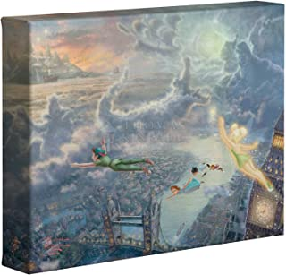 Thomas Kinkade Disney Tinker Bell and Peter Pan Fly to Neverland 8 x 10 Gallery Wrapped Canvas
