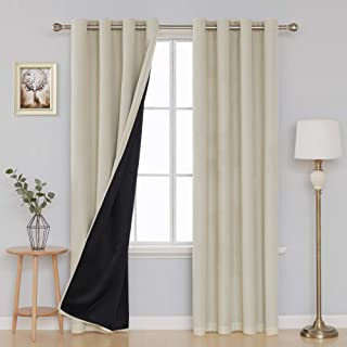 Deconovo Faux Linen 100 Percent Beige Blackout Curtains for Bedroom Double Layer Room Darkening Top Grommet Curtains 52 x 84 Inches Length Set of 2 Panels