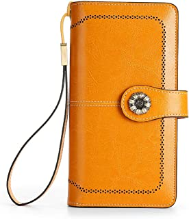 FRID Antimagnetic Woman Wallet, Genuine Leather, Retro Waxed Leather Multi-function Multi-Card Position Clutch Large Capac...