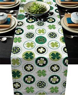 Cotton Dining Table Runner 13x90 inch St. Patrick's Day Lucky Shamrocks Pattern Irish Clover Celebration Day Party Prints ...