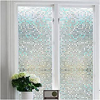 Niviy Premium No-Glue 3D Static Decorative Privacy Window Film Vinyl Window Clings17.7-Inch by 78.7-Inch 1 Roll