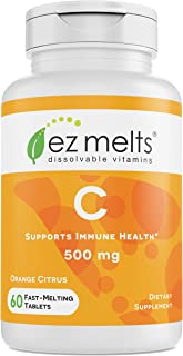 EZ Melts C for Immune Support, 500 mg, Sublingual Vitamins, Vegan, Zero Sugar, Natural Orange Flavor, 60 Fast Dissolve Tab...