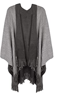 Lovful Women Winter Warm Cashmere Feel Poncho Capes Scarf Shawl Cardigans Sweater Coat