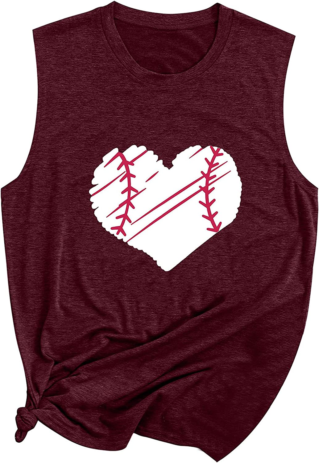 Beppter Women's Baseball Mom Heart Print Funny Tank Top Casual Vest Cami T-Shirt Tee Summer Graphic Tee Shirts(Wine,XX-Large)