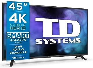 TD Systems K45DLJ12US - Televisores Smart TV 45 Pulgadas 4k UHD, Android 9.0 y HBBTV, 1300 PCI Hz, 3X HDMI, 2X USB. DVB-T...