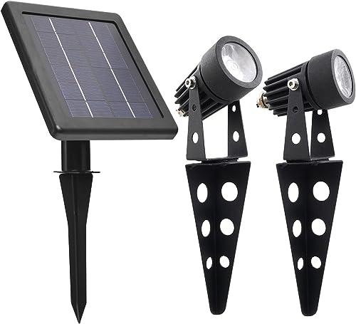 MINI 50X Twin Solar-Powered Cast Aluminium Warm White LED Spotlight 60-100 Lumen Per Light Fixture for Outdoor Garden...