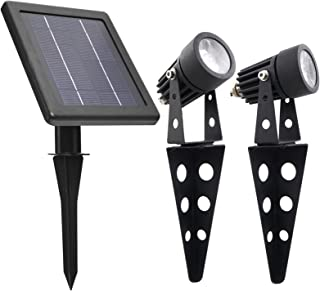 Mini 50X Twin Solar-Powered Cast Aluminium Warm White LED Spotlight 60-100 Lumen Per Light Fixture for Outdoor Garden Yard Landscape Downlight