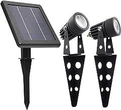 MINI 50X Twin Solar-Powered Cast Aluminium Warm White LED Spotlight 60-100 Lumen Per Light Fixture for Outdoor Garden Yard...