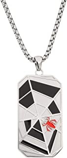 Spiderman Jewelry, Stainless Steel Dog Tag Pendant Necklace, 22
