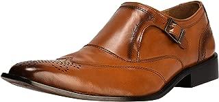Liberty Men's Single Monk Strap Genuine Leather Classic Wingtip Brogue Dress Shoes
