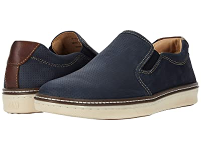 Johnston & Murphy McGuffey Perfed Slip-On (Navy Oiled Full Grain) Men