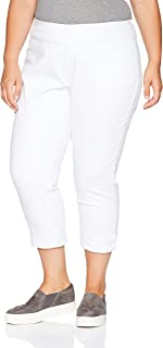 SLIM-SATION Women's Plus Size Wide Band Pull On Boyfriend Crop Pant