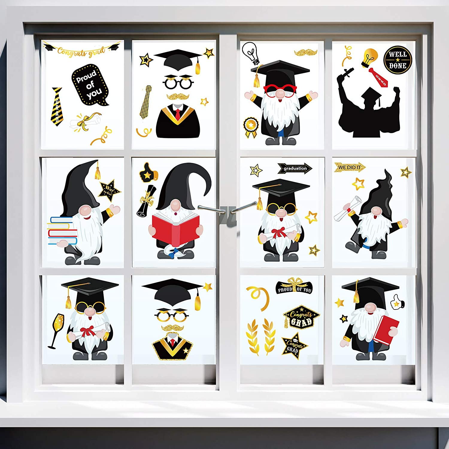 130 Pieces Graduation trend rank Max 53% OFF Gnome Window Clings Day