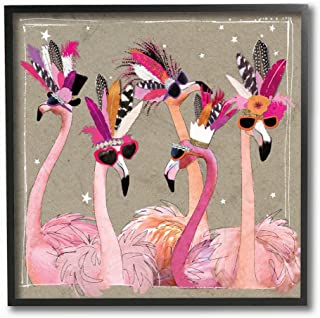 The Stupell Home Decor Collection Fancy Pants Flamingos Framed Texturized Art, 12
