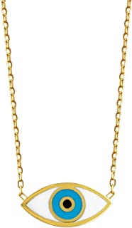 Evil Eye Yellow Gold Necklace for Women and Girls