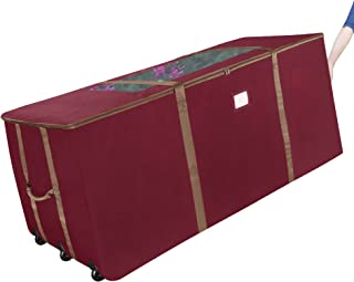 Elf Stor 83-DT5045 Rolling Christmas Storage Premium Duffel Bag with Wheels – Holds up to a 9 Foot Artificial Tree, Red