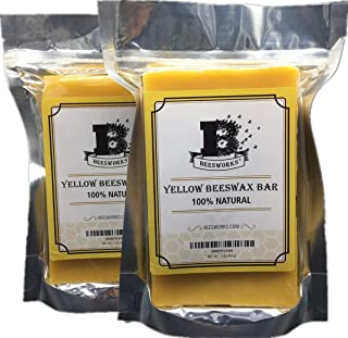 Beesworks-2 Pack-Yellow Beeswax Bars 1LB - (2 LBS Total) - 100% Pure, Cosmetic Grade…