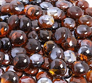 KIBOW 10-Pound Pack Fire Glass Beads Fire Glass Drops for Gas Fire Pit, 3/4 Inch-Copper