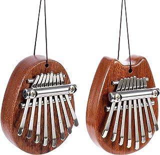 Baring 8 Keys Mini Kalimba, 2Pcs Wood Thumb Piano Marimbas F