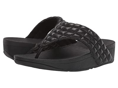 FitFlop Lulu Padded Shimmy Suede Toe Thong (All Black) Women