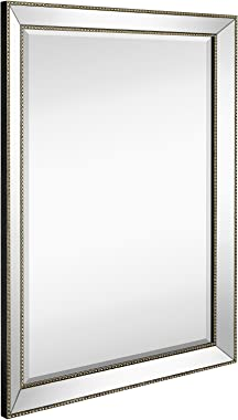 Hamilton Hills Large Framed Wall Mirror with Angled Beveled Mirror Frame and Beaded Accents Premium Silver Backed Glass Panel