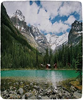 YOLIYANA Landscape Vivid Blanket,Canada Ohara Lake Yoho National Park with Mountains Nature Scenery Art Photo for Office,49'' W x 79'' H