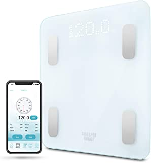 Digital Weight Scale SHARPER IMAGE Bathroom Bluetooth/Android & iOS App Compatible, Tracks Body