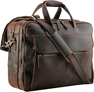 "Polare Men's Thick Full Grain Leather 17.3"" Laptop Business Briefcase"
