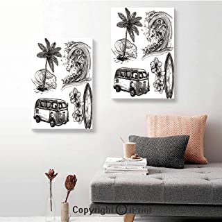 SfeatruRWF 2 Panel Canvas Wall Painting,Surfing Sport Surfboard Beach and Van Sketch Style Decorative Monochromic Illustration,16