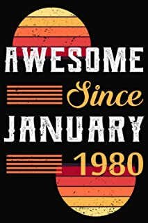 Awesome Since January 1980: 41st birthday gifts for him - Unique Birthday Present Ideas for 41 Years Old Men, Dad, Brother...