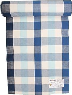 伊勢木綿 着尺 【 反物 】 臼井織布 白/藍/藍白 チェック 木綿 未仕立て 反物