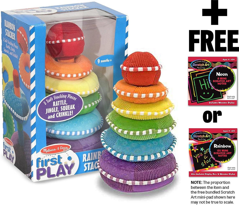 Soft Rainbow Stacker  First Play Series + FREE Melissa & Doug Scratch Art MiniPad Bundle [30663]